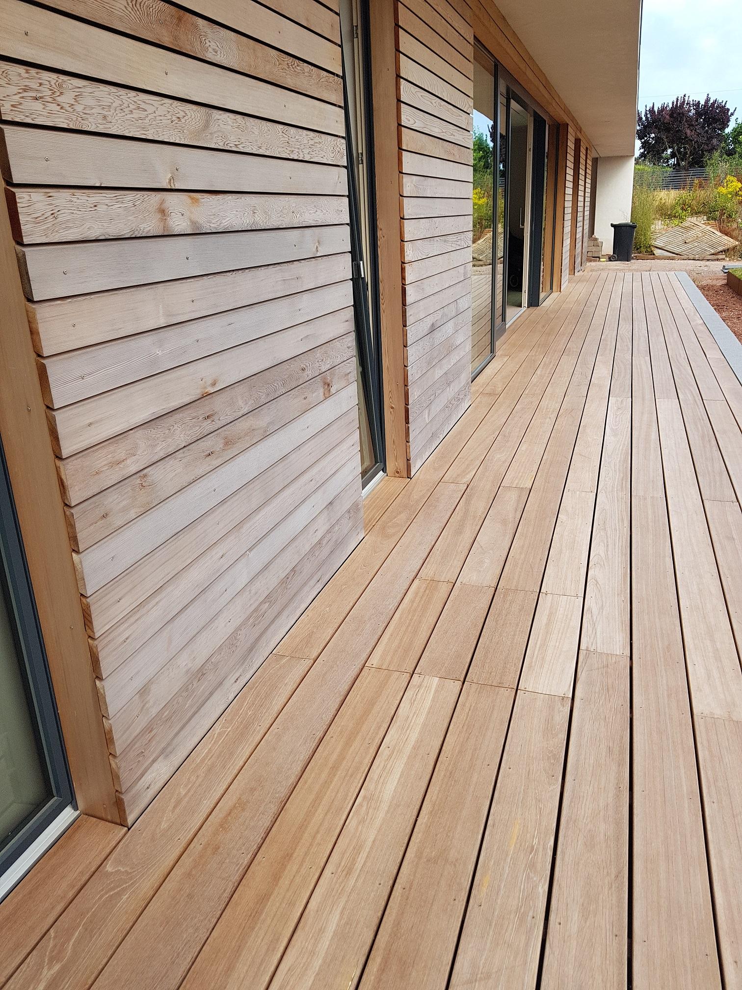 Timber deck and timber rain screen